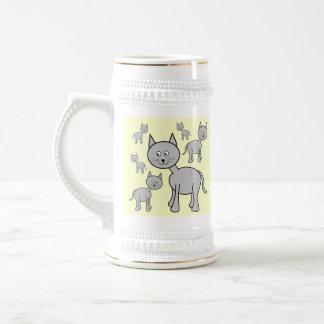 Cute Gray Cats. Cartoon on Cream. 18 Oz Beer Stein