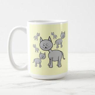 Cute Gray Cats. Cartoon on Cream. Classic White Coffee Mug