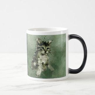 Cute green cat Watercolor Painting Illustration 11 Oz Magic Heat Color-Changing Coffee Mug
