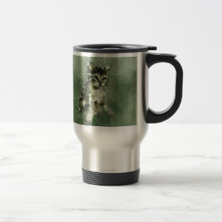 Cute green cat Watercolor Painting Illustration Stainless Steel Travel Mug