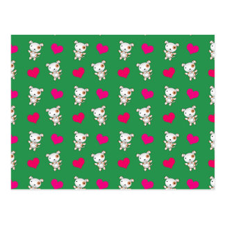 Cute green dog hearts pattern postcard