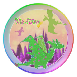 Cute Green Dragon with customizable Name Madison Party Plate