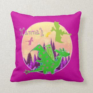 Cute Green Dragon with Name Hannah Pillow