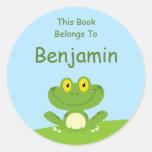 Cute Green Frog Book Label Round Sticker