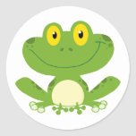Cute Green Frog Round Sticker