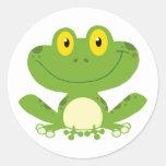 Cute Green Frog Round Sticker
