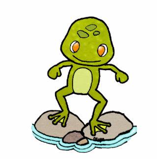 cute green frog standing photo sculpture
