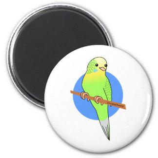 Cute Green Parakeet 6 Cm Round Magnet