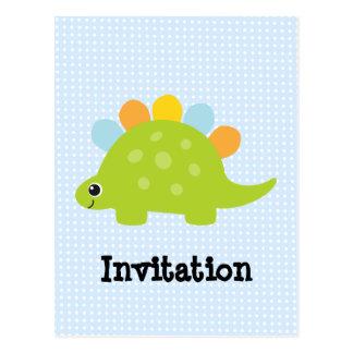 Cute Green Stegosaurus Dinosaur Party Sets Post Card