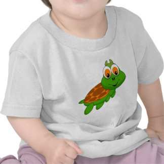 Cute green turtle animation illustration shirts