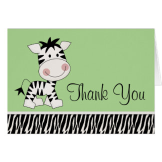 Cute Green Zebra Thank You Cards