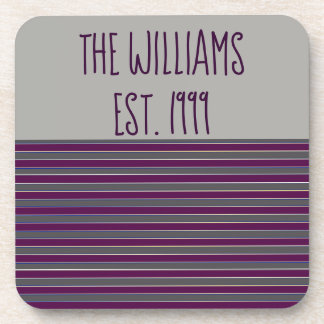 Cute Grey and Purple Stripes Coaster