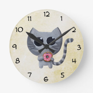 Cute Grey Cat and Donut Round Clock