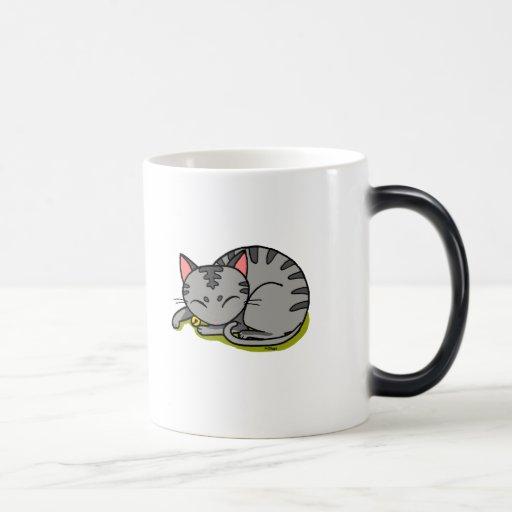Cute grey cat sleeping mugs