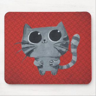Cute Grey Cat with big black eyes Mouse Pad