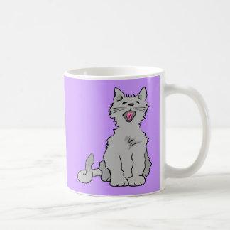 Cute grey yawning animated cat mug