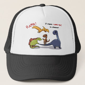 Cute Group of Dinosaurs Rawr Means We love you :) Trucker Hat