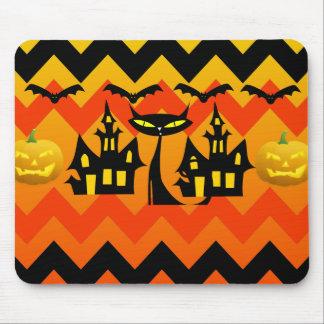 Cute Halloween Black Cat Haunted House Chevron Mouse Pad