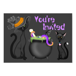 Cute Halloween Black Cats Baby Shower Invitation