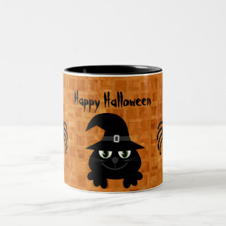 Cute Halloween Cat & Spiders Two-Tone Coffee Mug