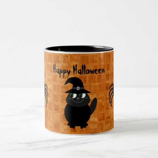 Cute Halloween Cat & Spiders Coffee Mug