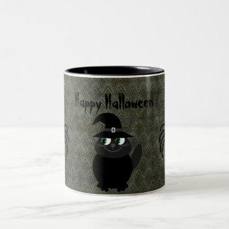 Cute Halloween Cat & Spiders Vintage Grunge Coffee Mug