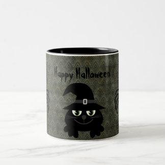 Cute Halloween Cat & Spiders Vintage Grunge Coffee Mugs