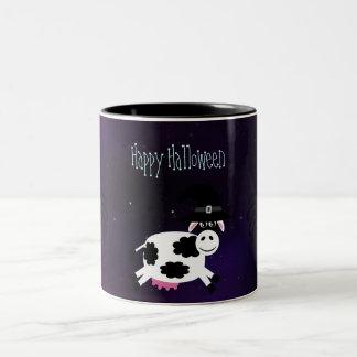 Cute Halloween Cow & Spiders Magical Night Mug