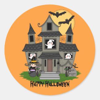 Cute Halloween haunted house & little witch Round Sticker