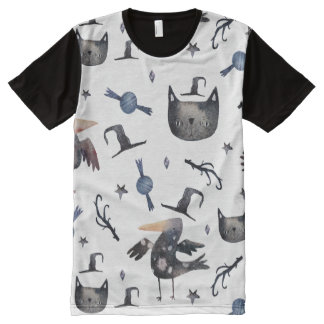 Cute Halloween Painted Patterns (Customizeable BG) All-Over Print T-Shirt