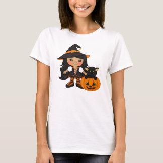 Cute Halloween Witch With Cat And A Pumpkin T-Shirt