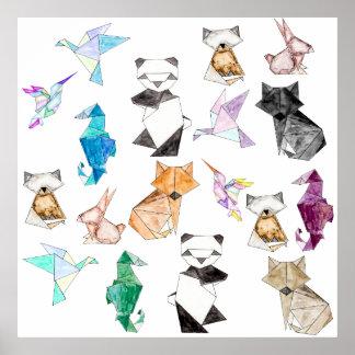 Cute Hand Drawn Geometric Paper Origami Animals Poster