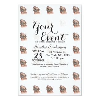 Cute Hand Painted Black Brown Watercolor Pug Dog 9 Cm X 13 Cm Invitation Card