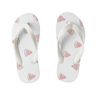 Cute hand painted watercolour watermelon print kid's jandals