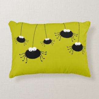 Cute Hanging Halloween Spiders Reversible Decorative Cushion