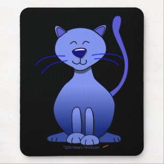 Cute Happy Blue Smiling Cat Picture Funny Template Mouse Pad