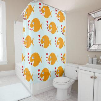Cute Happy Cartoon Goldfish Kids Bathroom Decor Shower Curtain