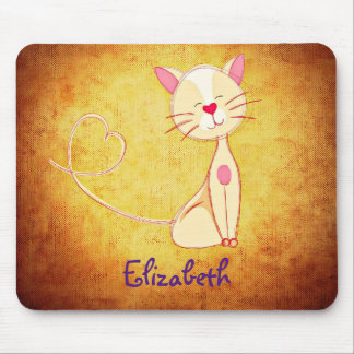 Cute happy Cat with a Heart Tail Personalized Mouse Pad