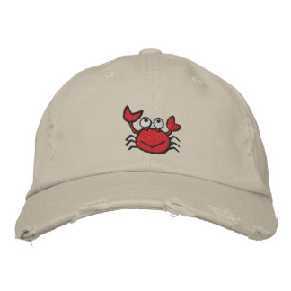 cute happy crab hat embroidered baseball cap