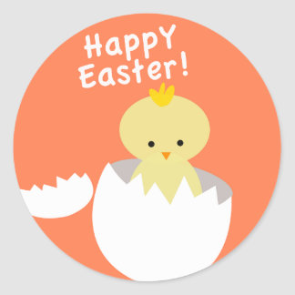 Cute Happy Easter Hatching Chick Round Sticker