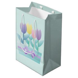 Cute Happy Easter Tulips Custom MGB Medium Gift Bag