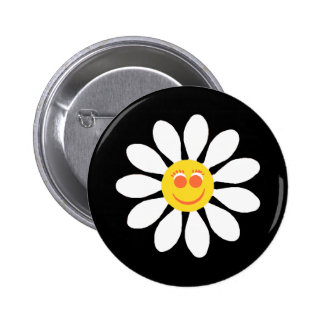 Cute Happy Face Girly White Daisy Flower on Black 6 Cm Round Badge