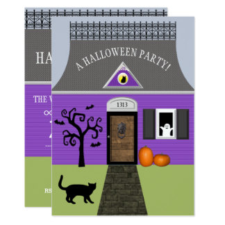 Cute Haunted House Halloween Invitation