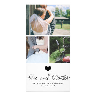 Cute Heart Love And Thanks Typography Wedding Photo Greeting Card