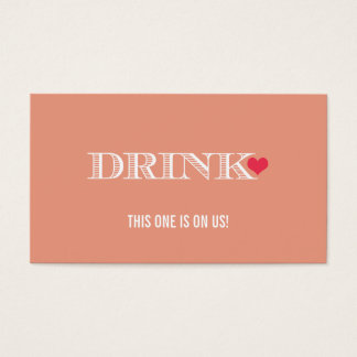 Cute Heart Peach Red Wedding Drink Ticket