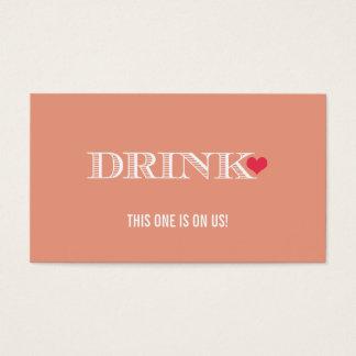Cute Heart Peach Red Wedding Drink Ticket