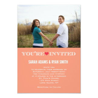 Cute Heart Peach Red Wedding Photo Invitations
