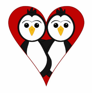 Cute Heart Penguins Photo Cut Out