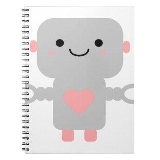 Cute Heart Robot Spiral Note Books