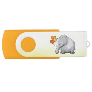 Cute Hearts Balloons Elephant Neutral Baby Shower USB Flash Drive